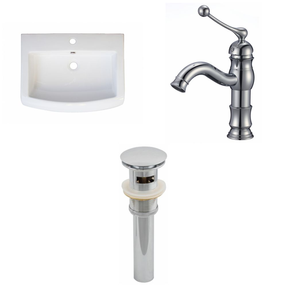24-Inch W x 18-Inch D Ceramic Top Set In White Color With Single Hole CUPC Faucet And Drain AI-16588 Canada Discount