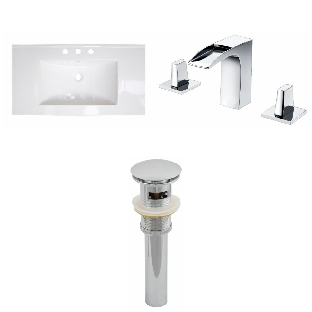 36-inch W x 20-inch D Ceramic Top Set with 8-inch O.C. Faucet and Drain in White