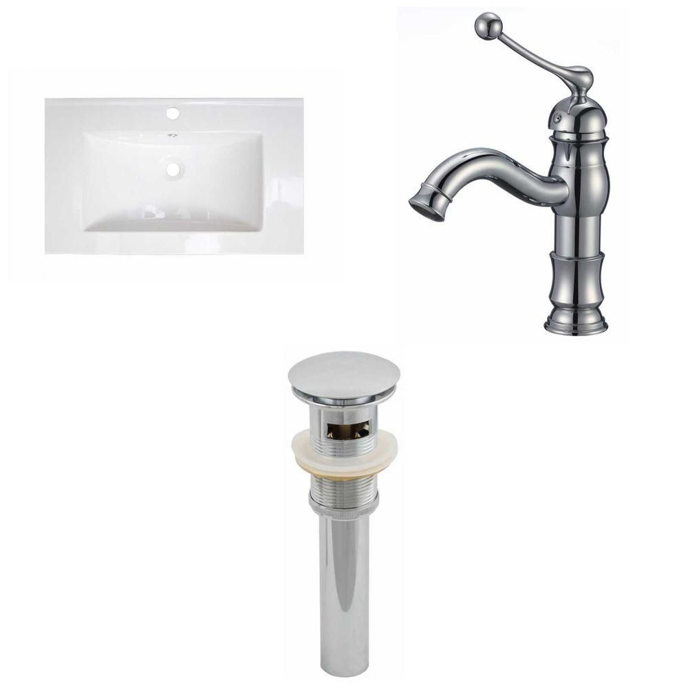 32-in. W x 18 po. D Céramique Top Set In White Couleur Avec Single Hole CUPC robinet et le drain