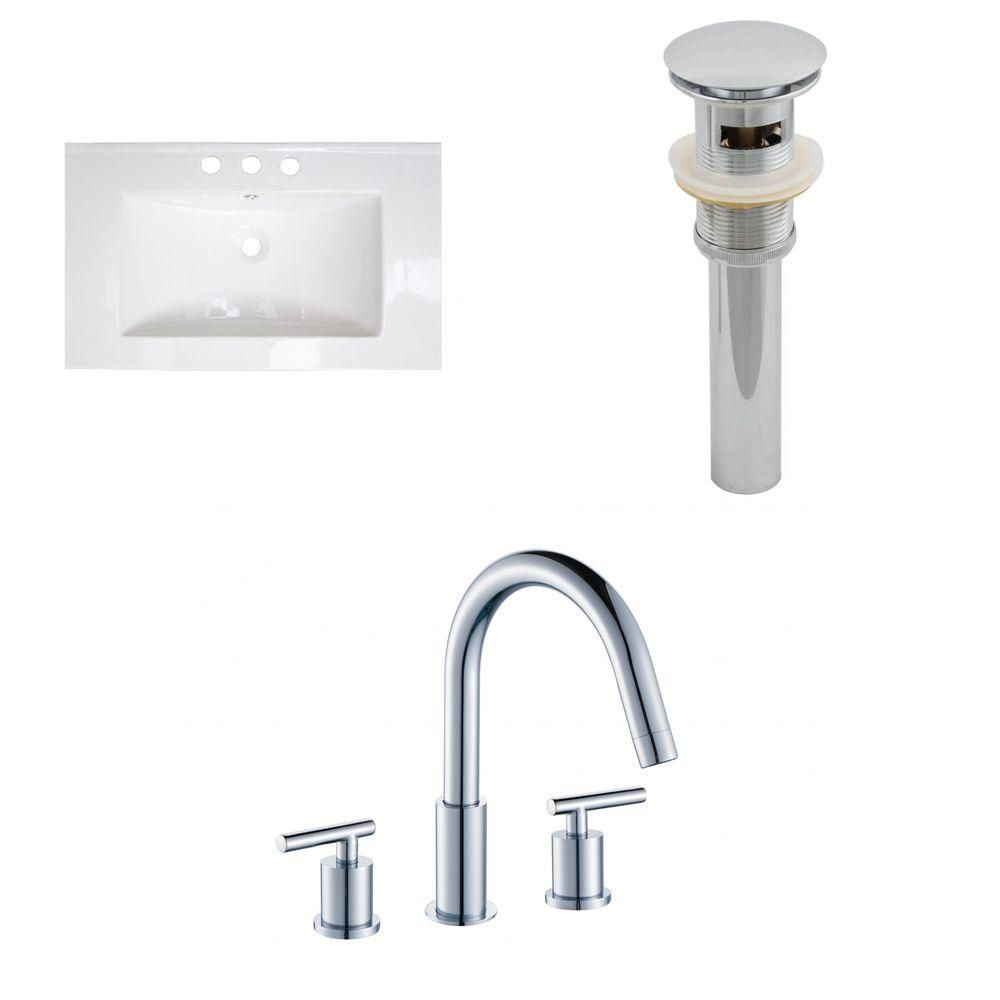 32- Inch W x 18- Inch D Ceramic Top Set In White Color With 8- Inch o.c. CUPC Faucet And Drain AI-16703 in Canada
