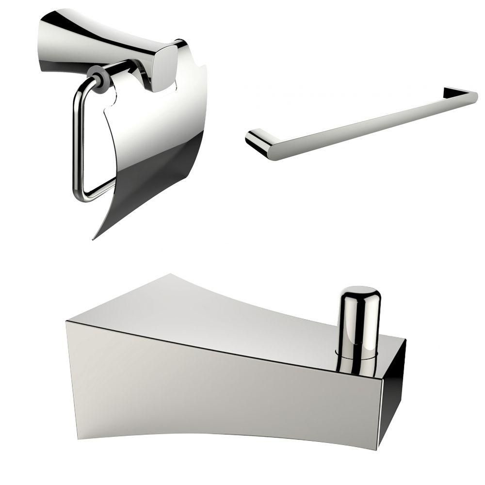 Chrome Plated Single Rod Towel Rack With Robe Hook And Toilet Paper Holder Accessory Set