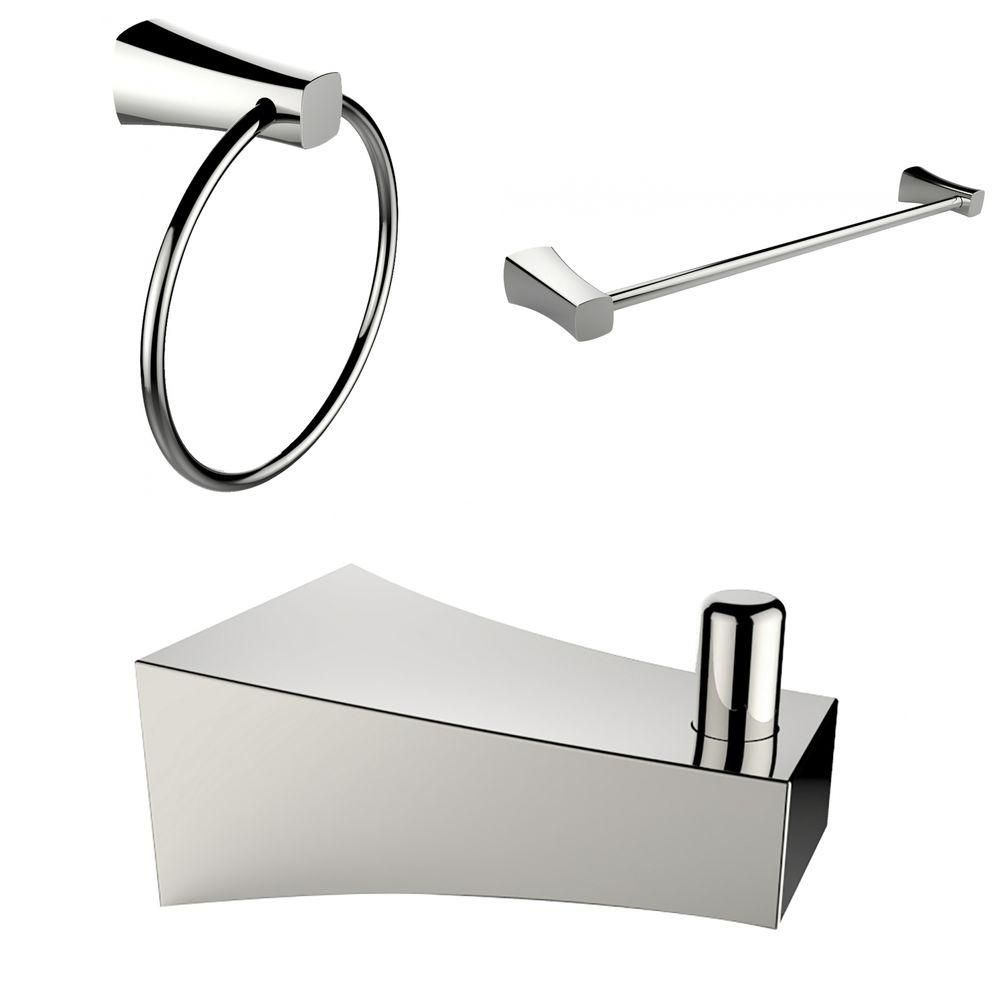 Single Rod Towel Rack With Robe Hook And Towel Ring Accessory Set