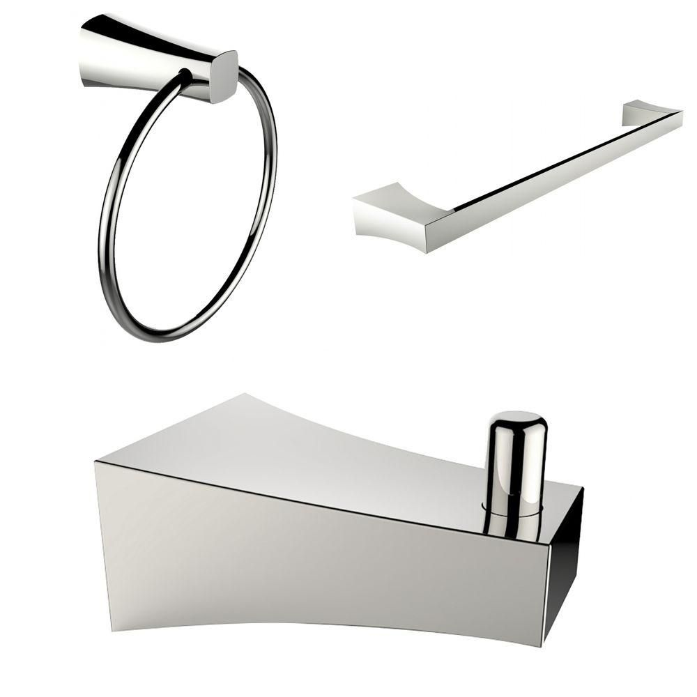 Chrome Plated Robe Hook, Towel Ring, And A Single Towel Rod Accessory Set