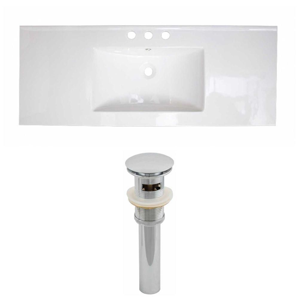 40-inch W x 18-inch D Ceramic Top with Drain in White
