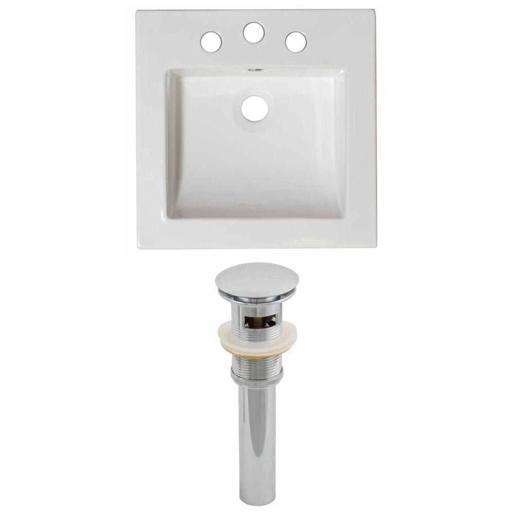 American Imaginations 16 1/2-inch W x 16 1/2-inch D Ceramic Top Set with Drain in White