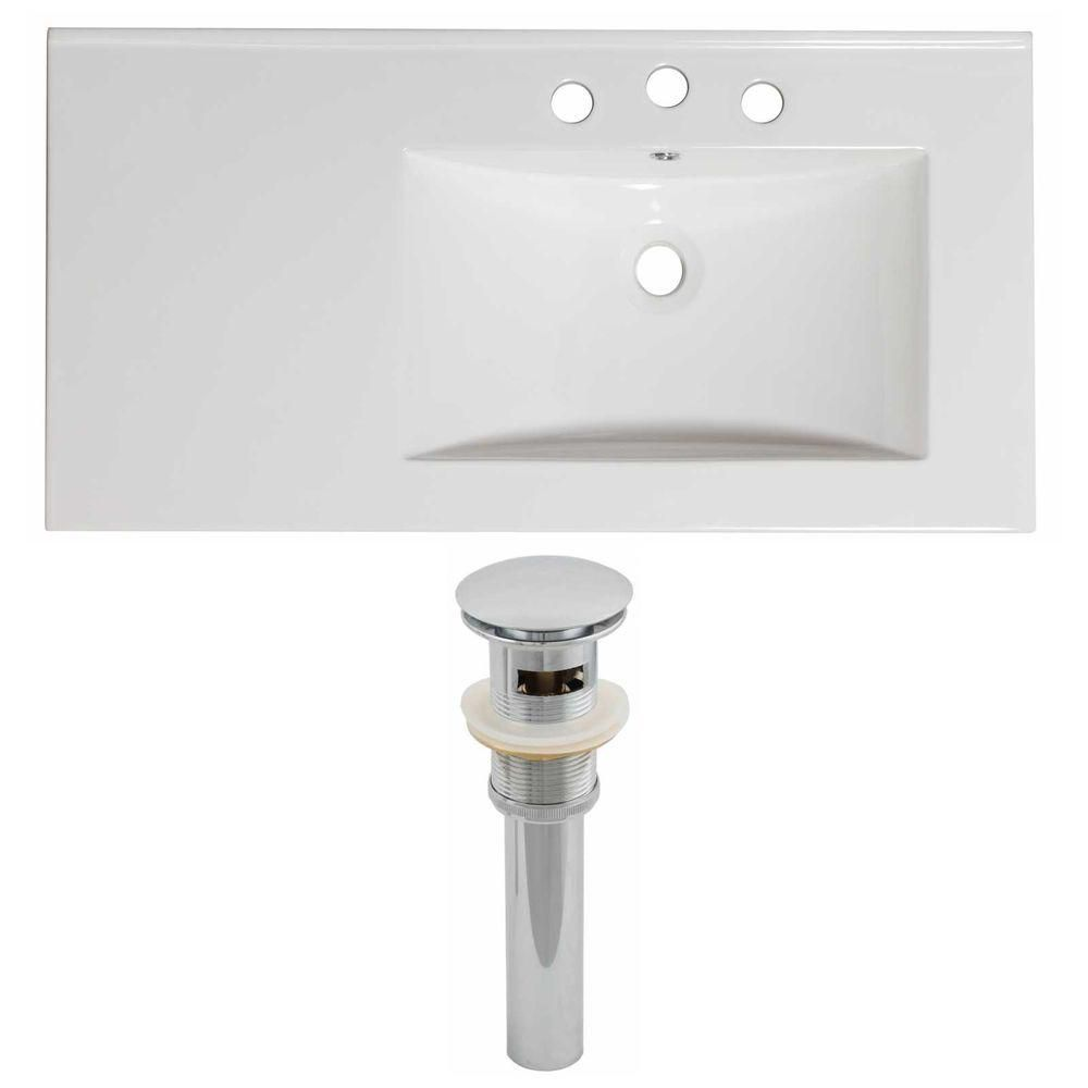 American Imaginations 36-inch W x 18 1/2-inch D Ceramic Top Set with Drain in White