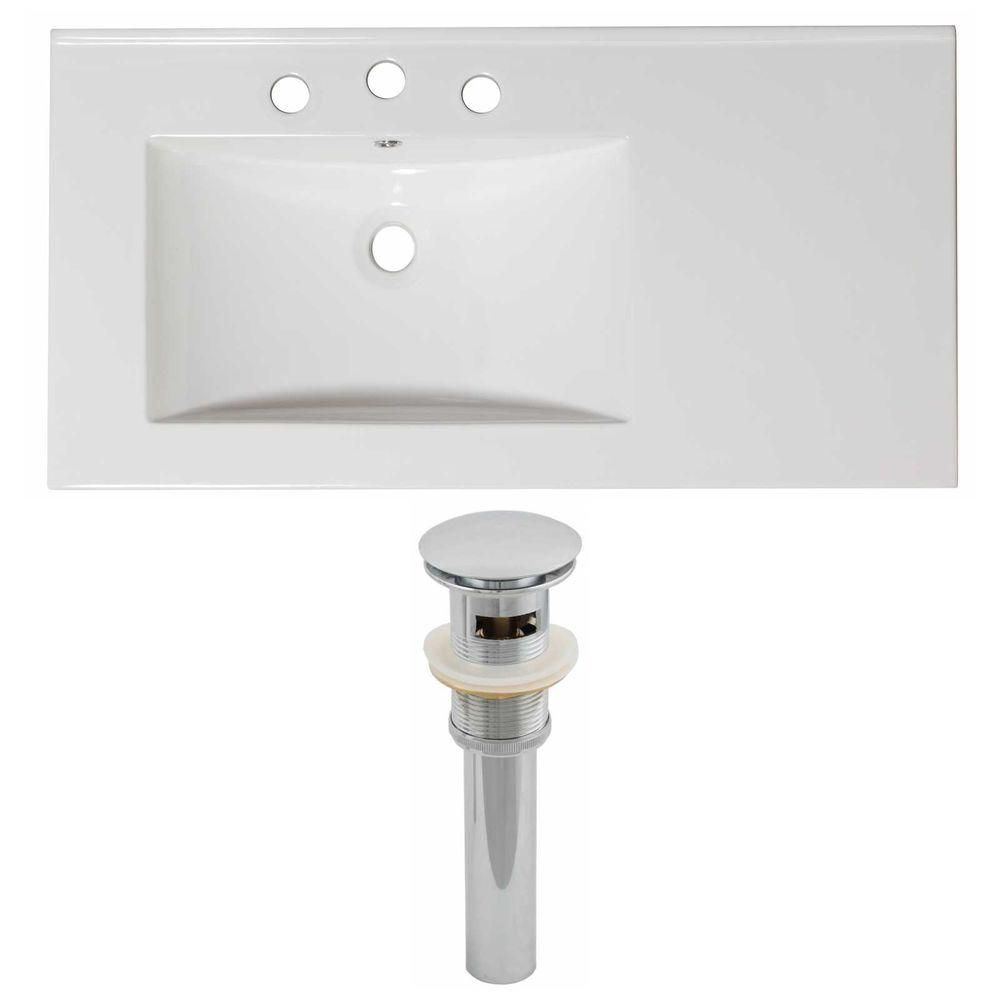 36-inch W x 18 1/2-inch D Ceramic Top Set with Drain in White
