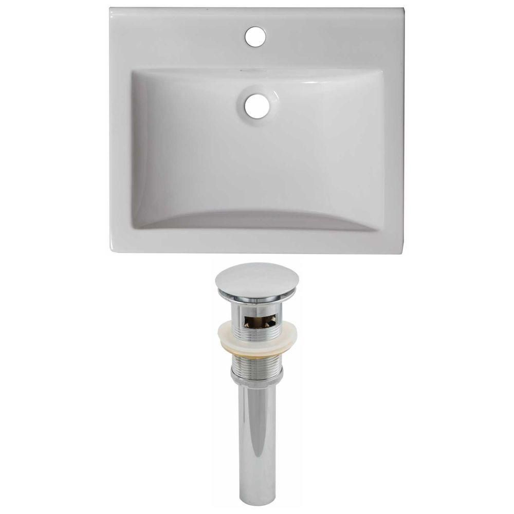 21-inch W x 18 1/2-inch D Ceramic Top Set with Drain in White