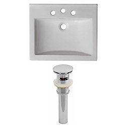 American Imaginations 21-inch W x 18 1/2-inch D Ceramic Top Set with Drain in White