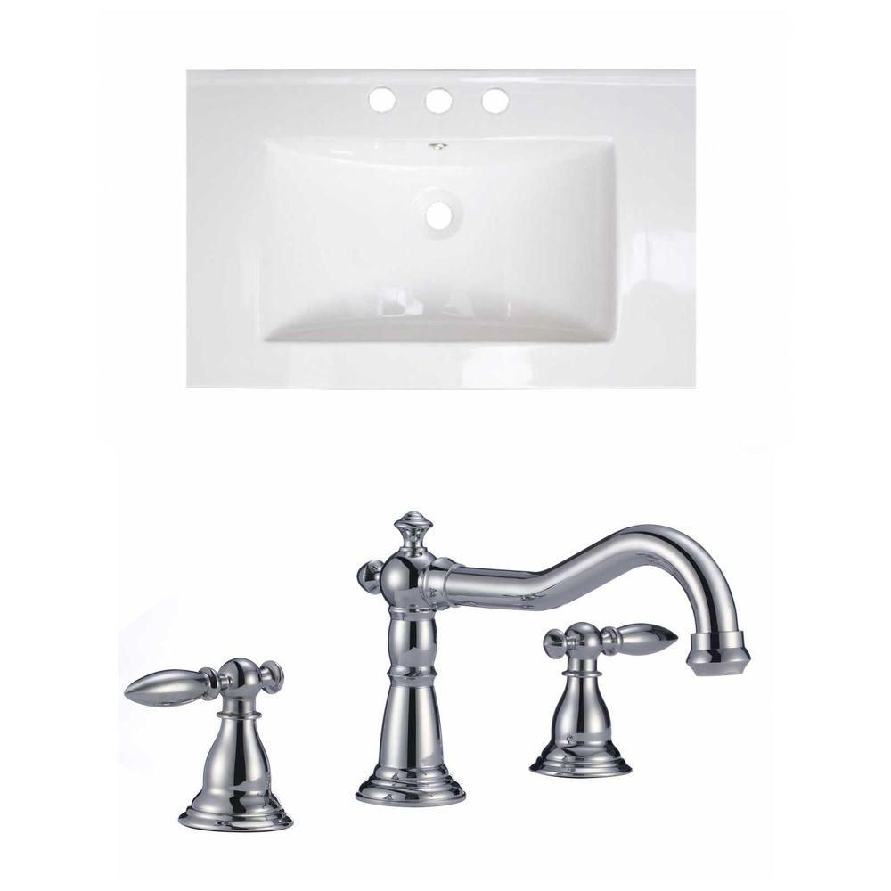 American Imaginations 24-inch W x 18-inch D Ceramic Top Set with 8-inch O.C. Faucet in White