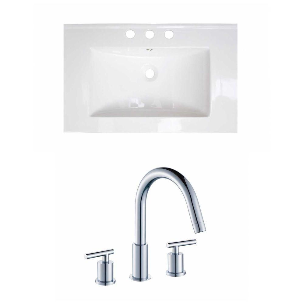 24-Inch W x 18-Inch D Ceramic Top Set In White Color With 8-Inch o.c. CUPC Faucet AI-15720 Canada Discount