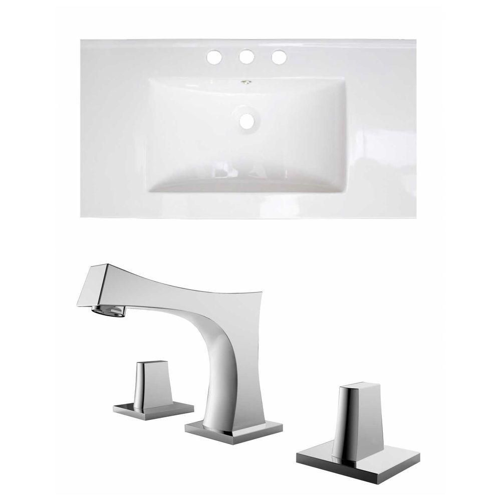 32-Inch W x 18-Inch D Ceramic Top Set In White Color With 8-Inch o.c. CUPC Faucet AI-15721 Canada Discount