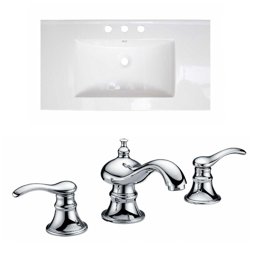 32-inch W x 18-inch D Ceramic Top with 8-inch O.C. Faucet in White