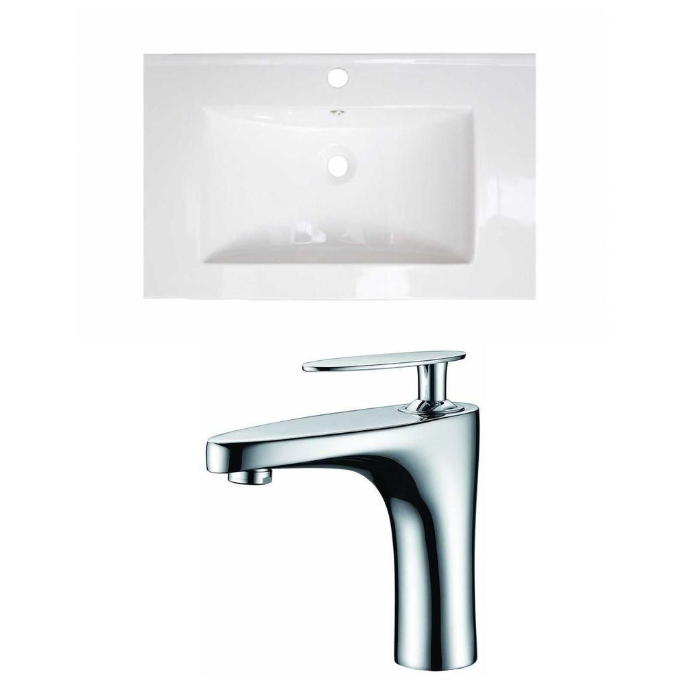 American Imaginations 24-inch W x 18-inch D Ceramic Top Set with Single Hole Faucet in White