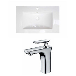 American Imaginations 24-inch W x 18-inch D Drop-In Vessel Sink in White with Faucet