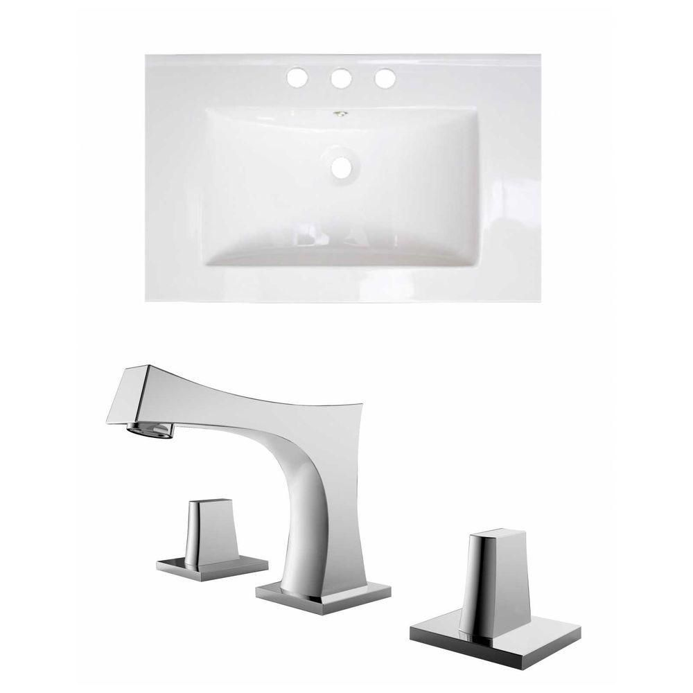 24-Inch W x 18-Inch D Ceramic Top Set In White Color With 8-Inch o.c. CUPC Faucet AI-15735 Canada Discount