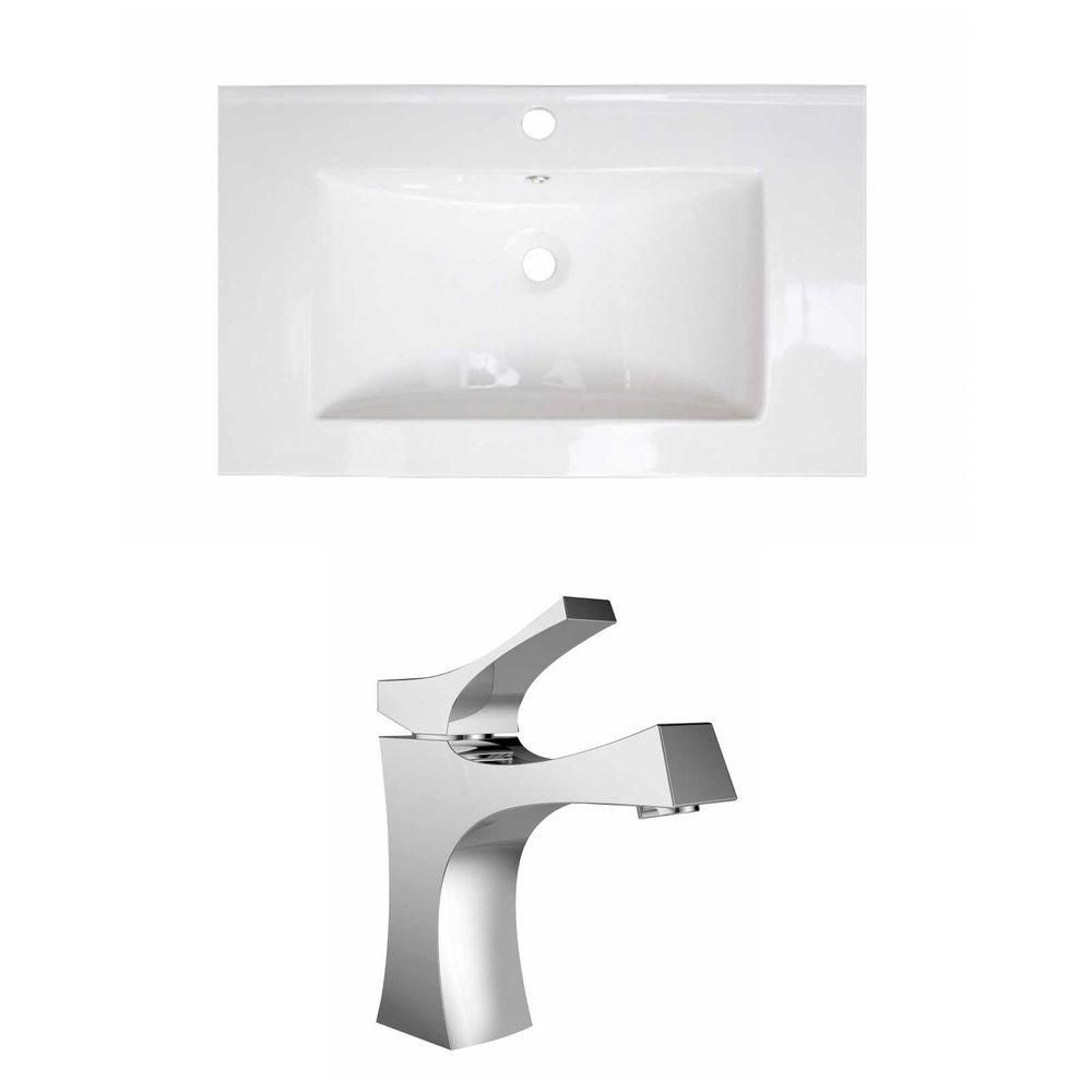 32-in. W x 18 po. D Céramique Top Set In White Couleur Avec Single Hole CUPC Robinet