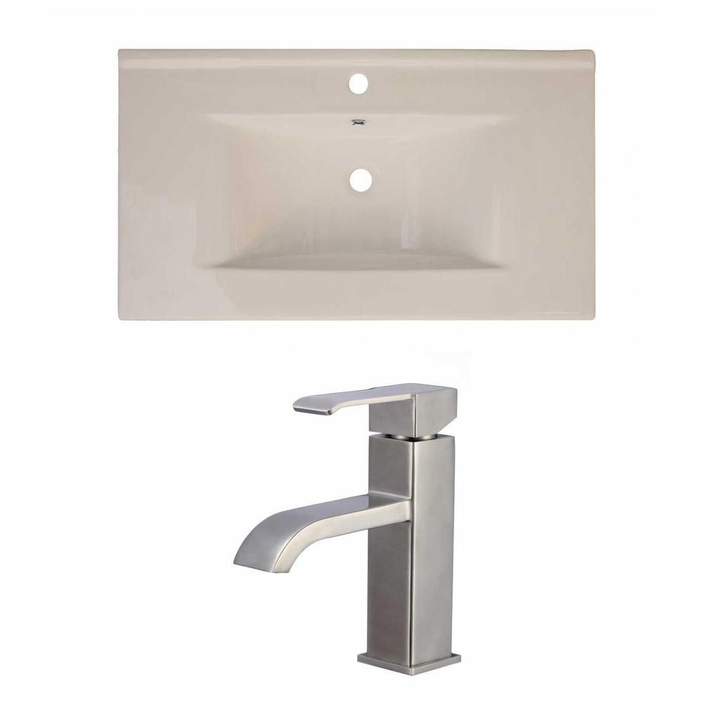 36-inch W x 20-inch D Ceramic Top Set with Single Hole Faucet in Biscuit
