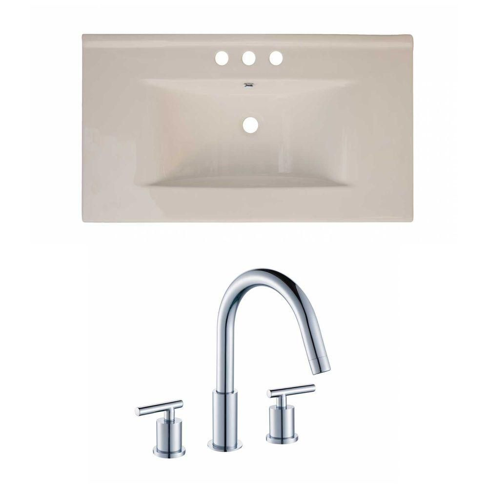 36-inch W x 20-inch D Ceramic Top Set with 8-inch O.C. Faucet in Biscuit