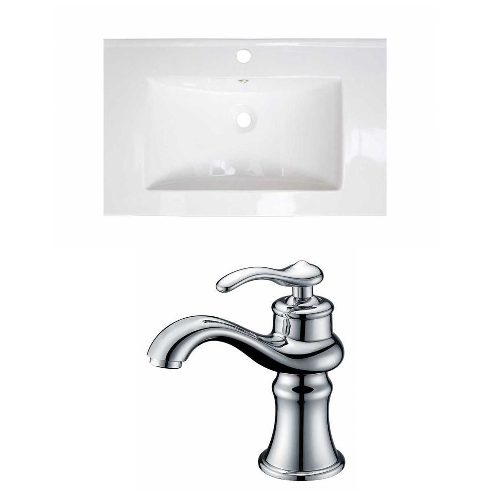 24-inch W x 18-inch D Ceramic Top Set with Single Hole Faucet in White