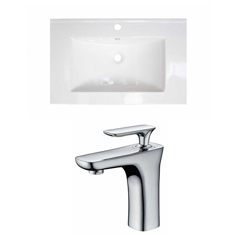 24-in. W x 18 po. D Céramique Top Set In White Couleur Avec Single Hole CUPC Robinet