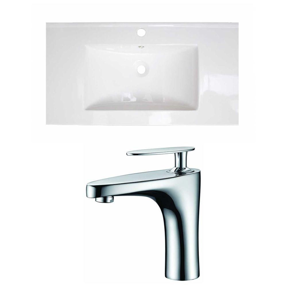 32-inch W x 18-inch D Ceramic Top with Single Hole Faucet in White