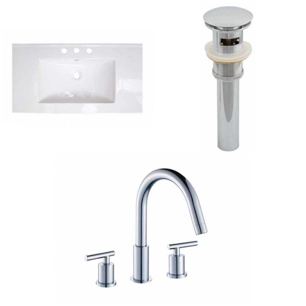 36-inch W x 20-inch D Ceramic Top with 8-inch O.C. Faucet and Drain in White