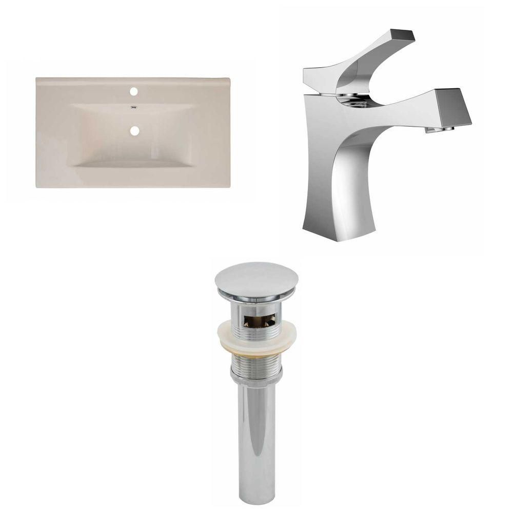36-inch W x 20-inch D Ceramic Top with Single Hole Faucet and Drain in Biscuit