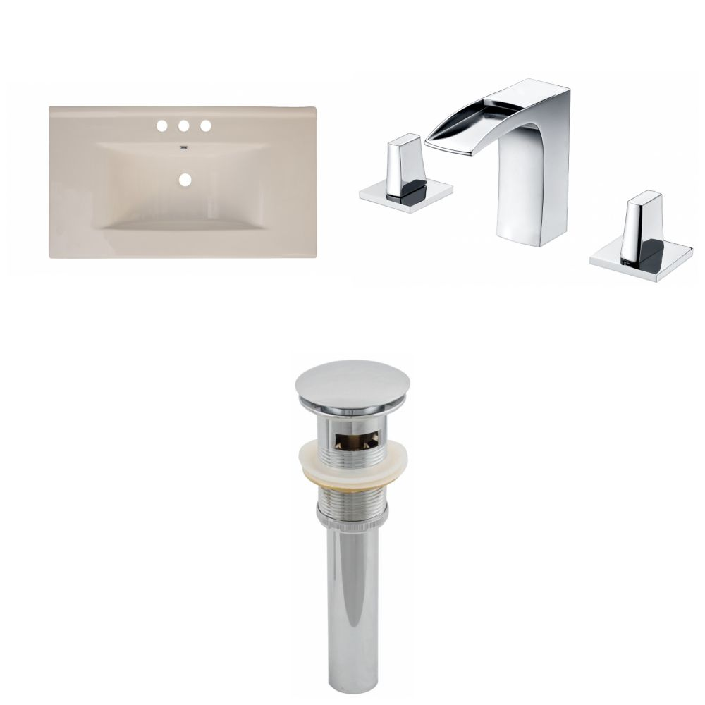 36- Inch W x 20- Inch D Ceramic Top Set In Biscuit Color With 8- Inch o.c. CUPC Faucet And Drain AI-16606 Canada Discount