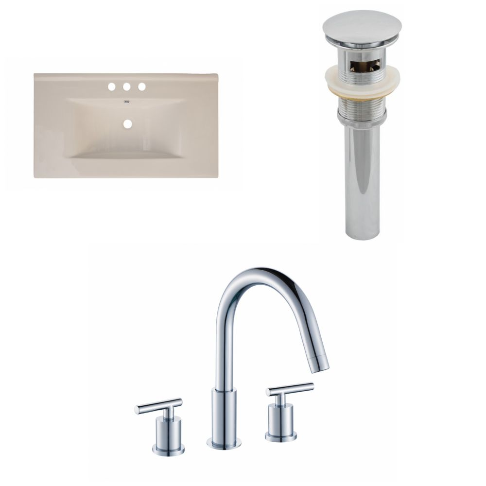 36-inch W x 20-inch D Ceramic Top with 8-inch O.C. Faucet and Drain in Biscuit