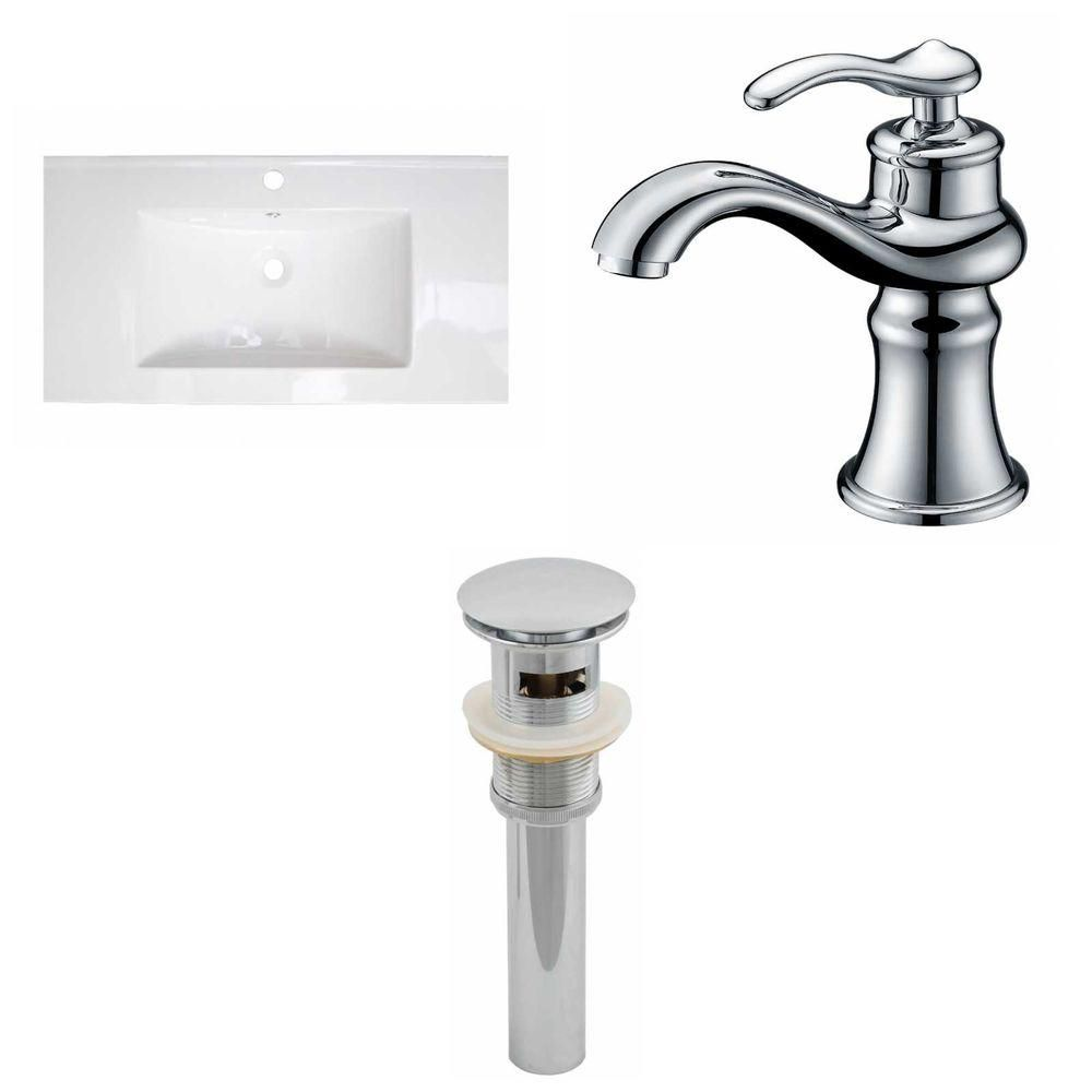 32- Inch W x 18- Inch D Ceramic Top Set In White Color With Single Hole CUPC Faucet And Drain AI-16616 Canada Discount