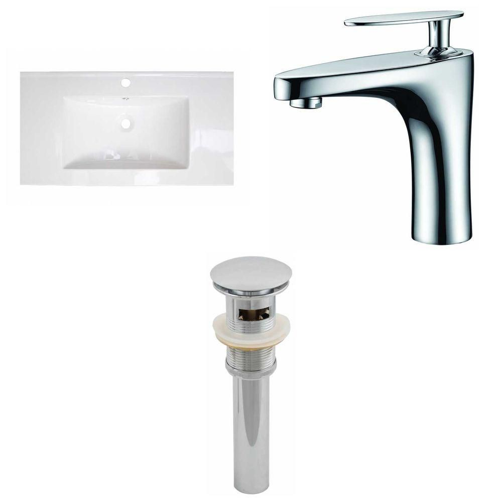 32- Inch W x 18- Inch D Ceramic Top Set In White Color With Single Hole CUPC Faucet And Drain AI-16617 Canada Discount