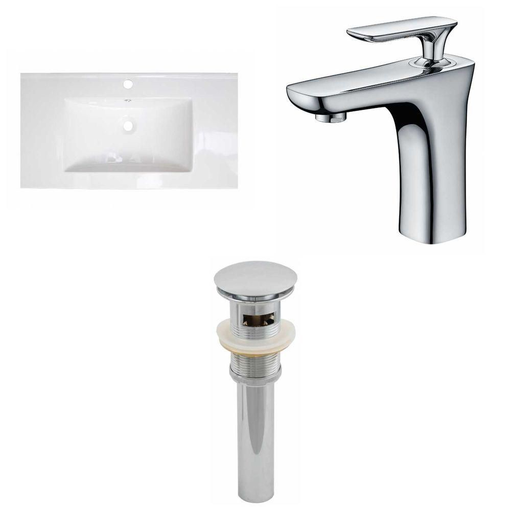 32- Inch W x 18- Inch D Ceramic Top Set In White Color With Single Hole CUPC Faucet And Drain AI-16618 Canada Discount