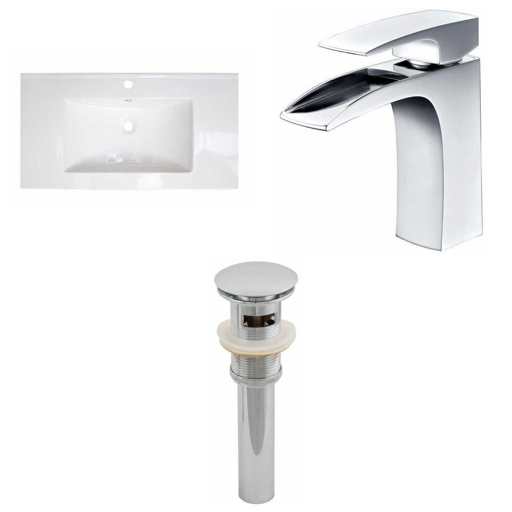 32-inch W x 18-inch D Ceramic Top with Single Hole Faucet and Drain in White