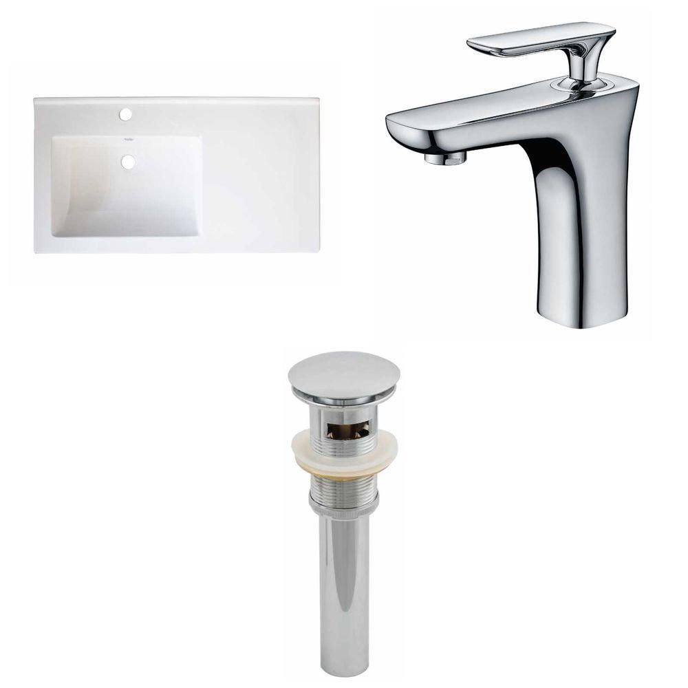 34- Inch W x 18- Inch D Ceramic Top Set In White Color With Single Hole CUPC Faucet And Drain AI-16624 in Canada