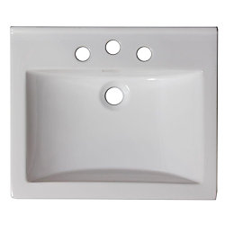 American Imaginations 21-inch W x 18 1/2-inch D Ceramic Top for 8-inch O.C. Faucet in White