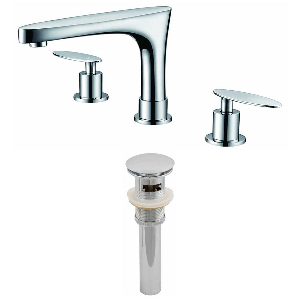 American Imaginations 8-inch Brass Bathroom Faucet Set with Drain in Chrome Colour