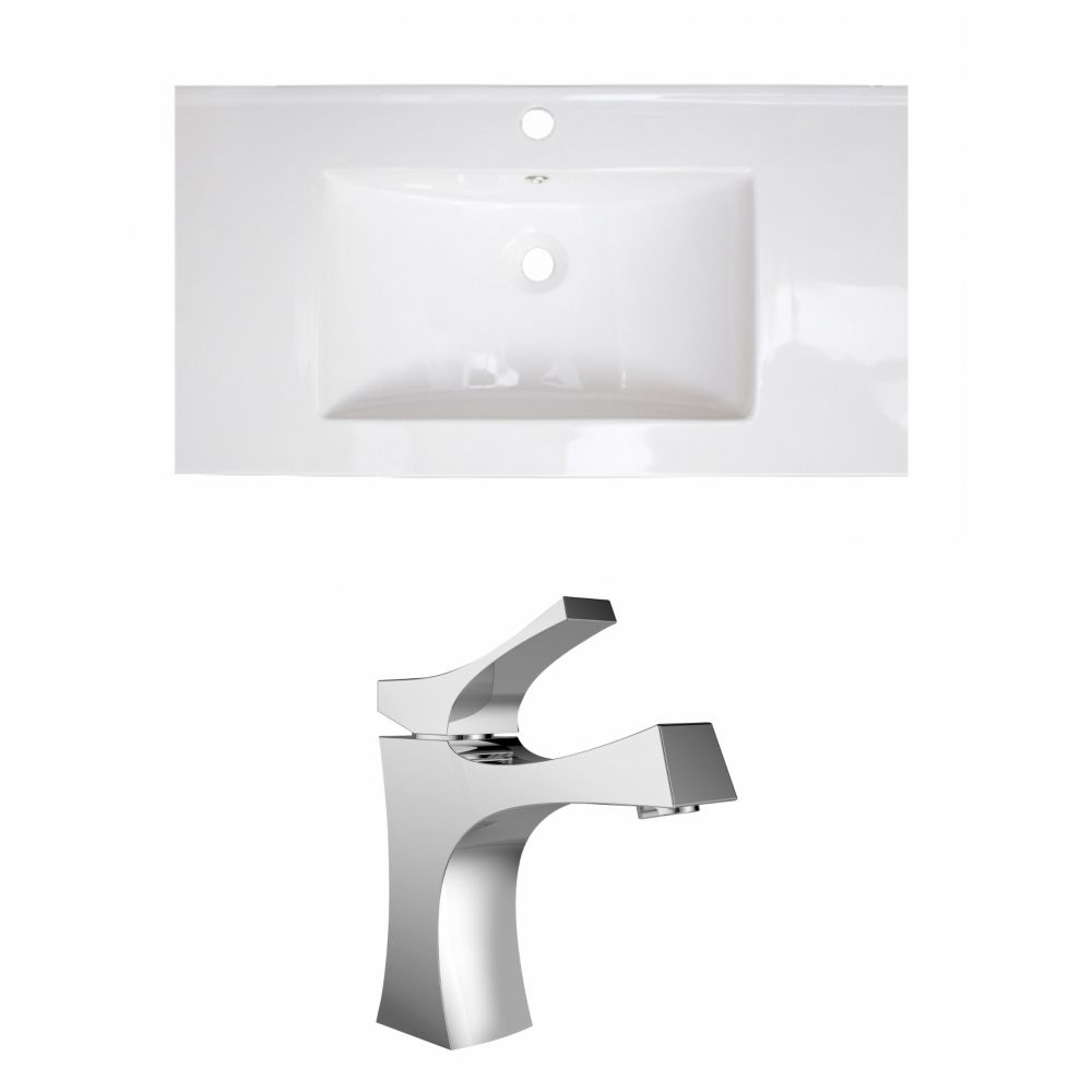 36-in. W x 18 po. D Céramique Top Set In White Couleur Avec Single Hole CUPC Robinet