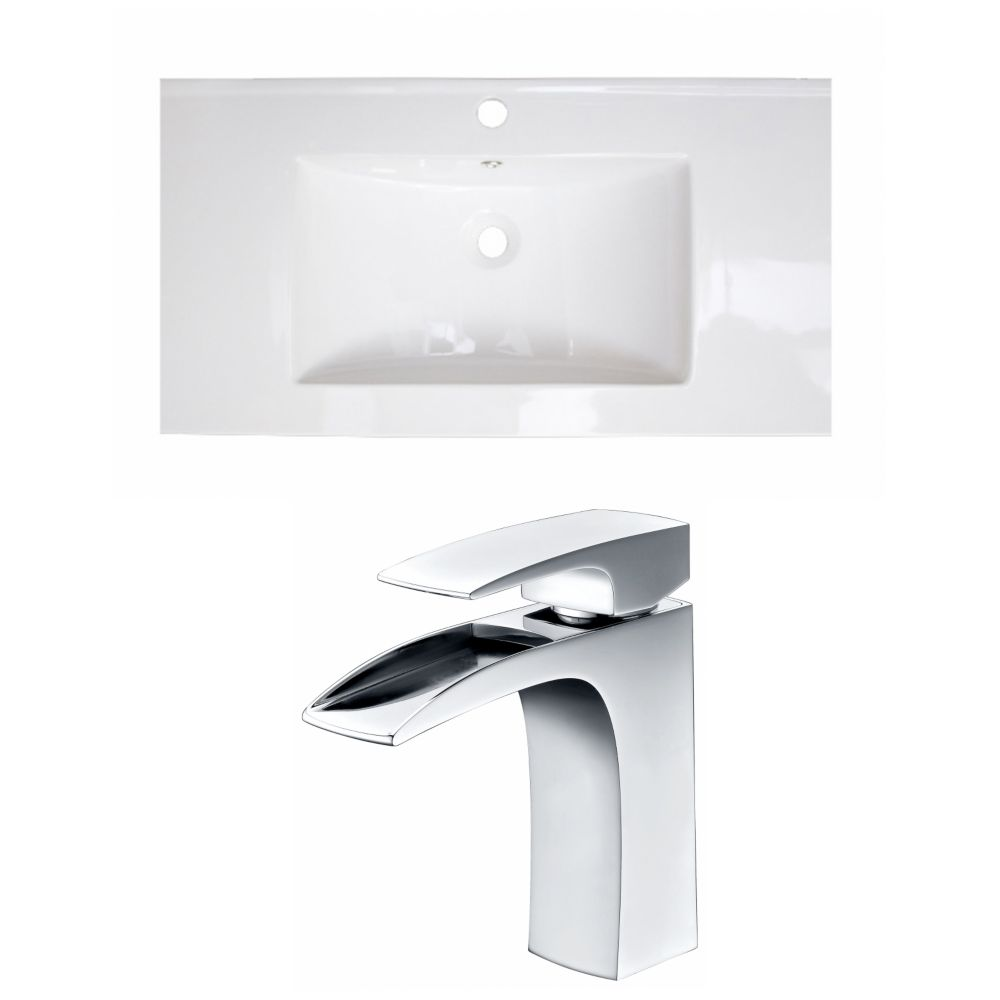 36-inch W x 18-inch D Ceramic Top with Single Hole Faucet in White