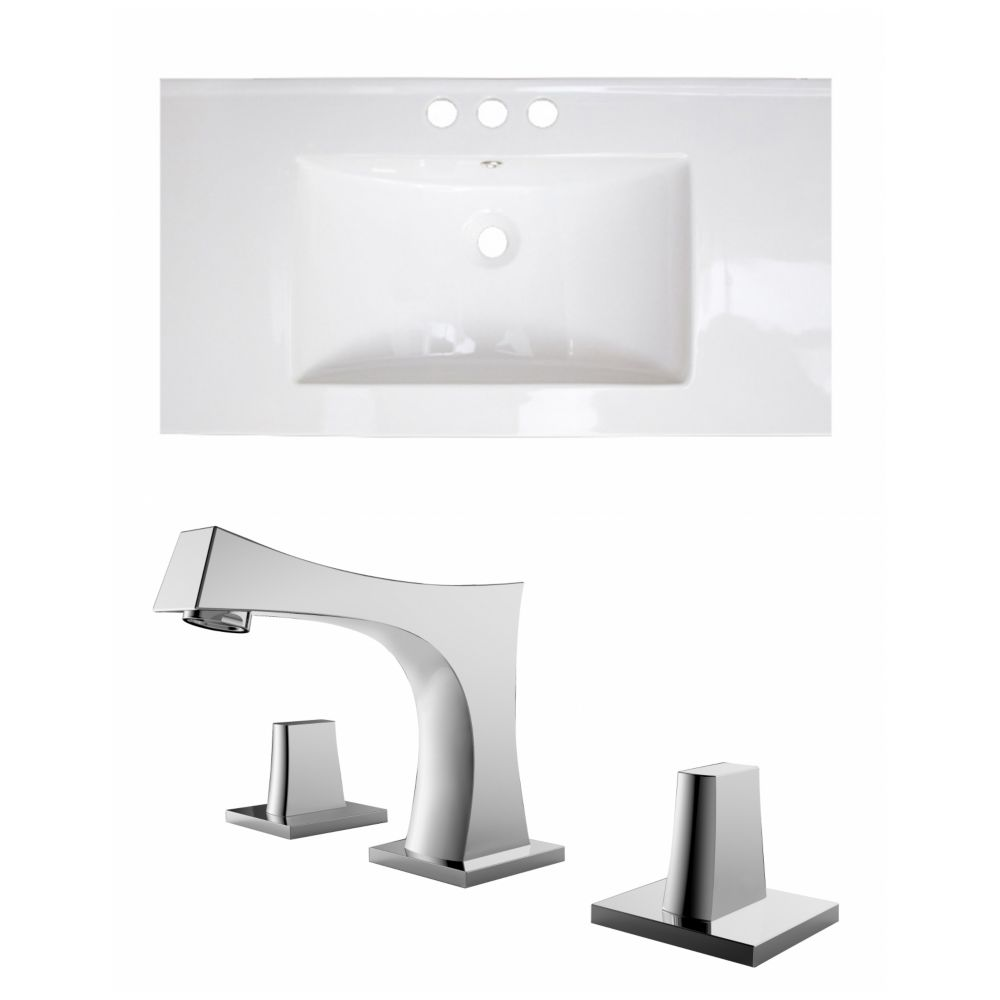 36-inch W x 18-inch D Ceramic Top with 8-inch O.C. Faucet in White