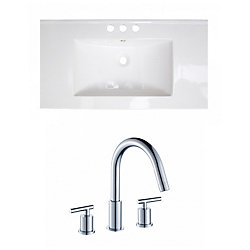 American Imaginations 36-inch W x 18-inch D Ceramic Top with 8-inch O.C. Faucet in White