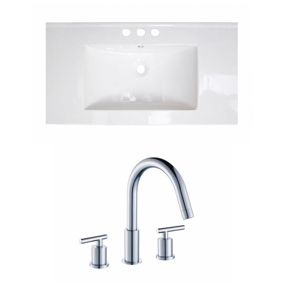36-in. W x 18 po. D Céramique Top Set In White Couleur Avec 8-in. O.C. Robinet CUPC