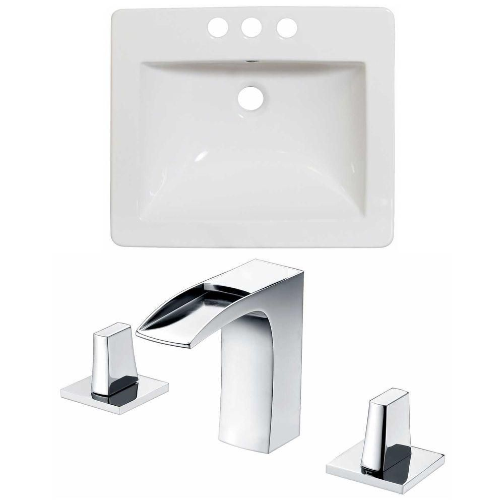 21-Inch W x 18-Inch D Ceramic Top Set In White Color With 8-Inch o.c. CUPC Faucet AI-15879 in Canada