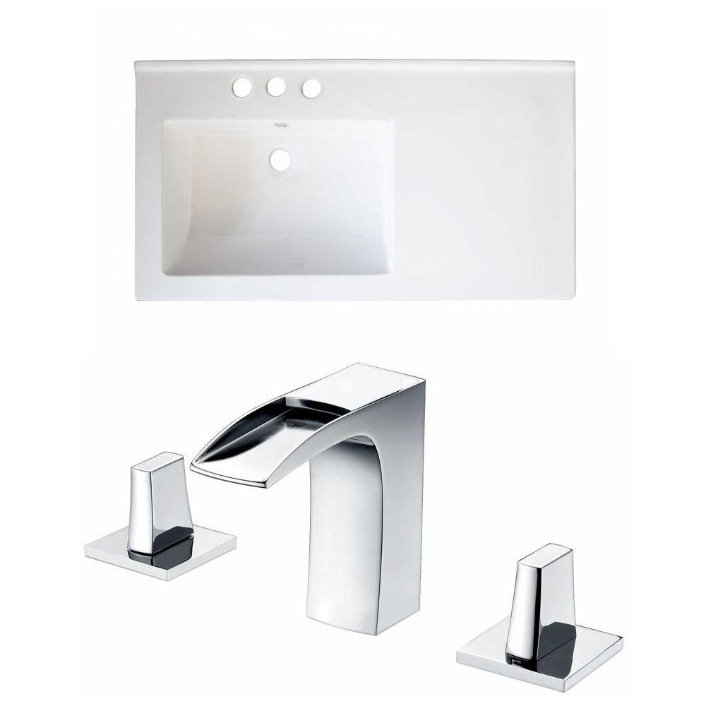 34-Inch W x 18-Inch D Ceramic Top Set In White Color With 8-Inch o.c. CUPC Faucet AI-15893 in Canada