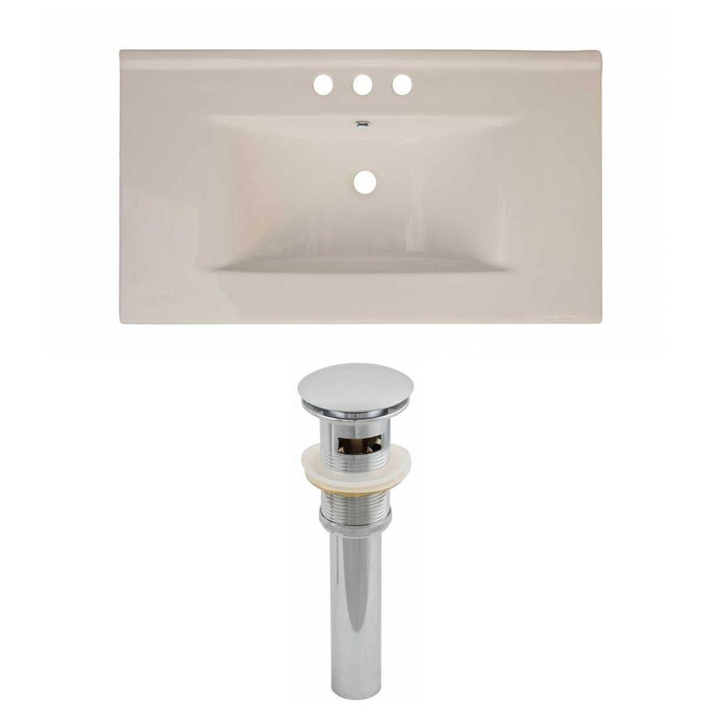 36-inch W x 20-inch D Ceramic Top Set with Drain in Biscuit