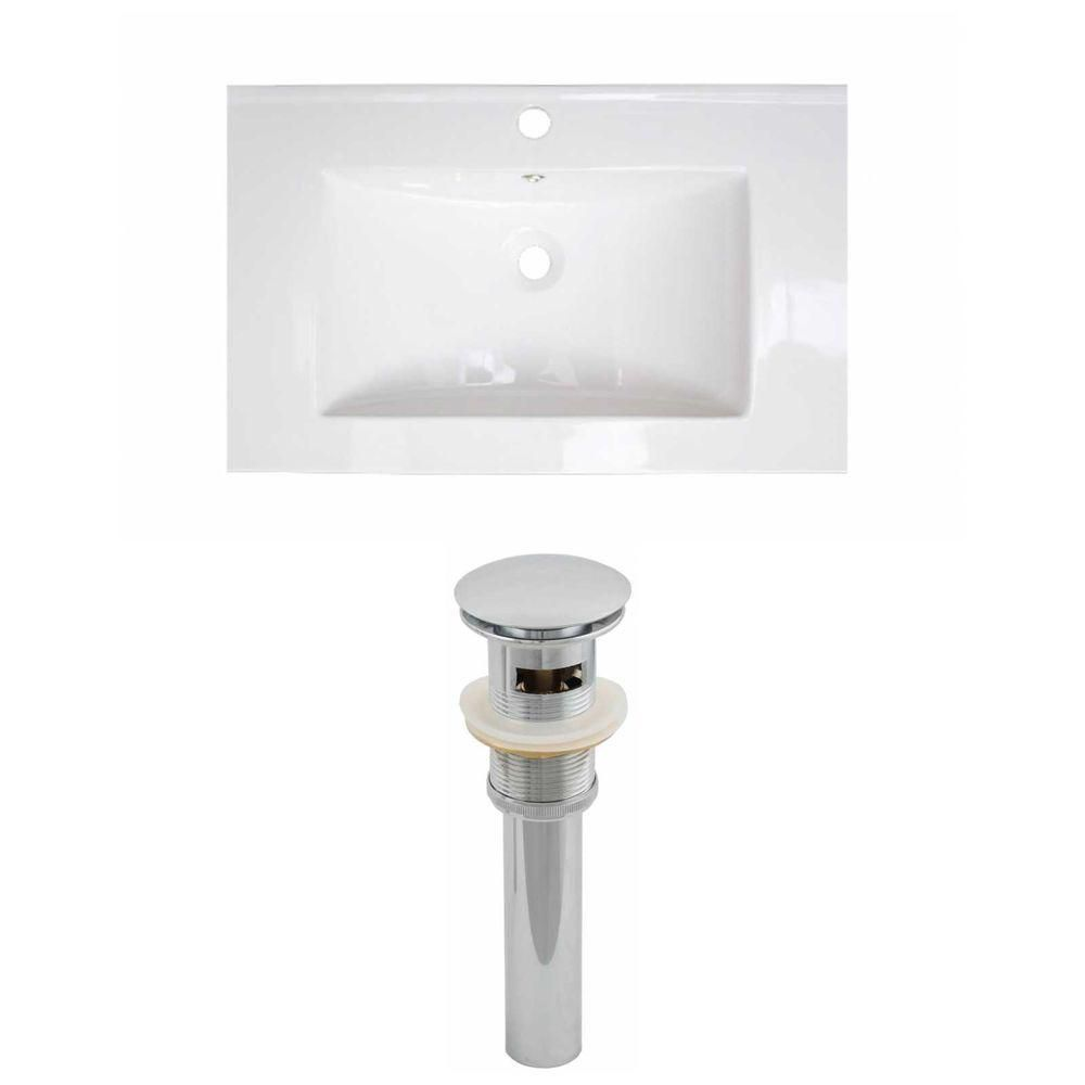 24-inch W x 18-inch D Ceramic Top Set with Drain in White