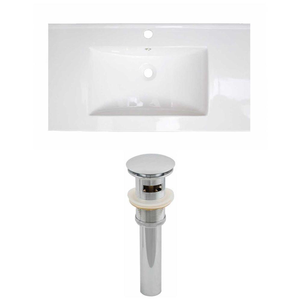 32-in. W x 18 po. D Céramique Top Set de couleur blanche et le drain
