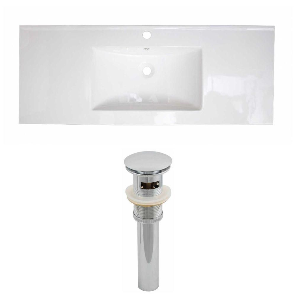 48-inch W x 18-inch D Ceramic Top Set with Drain in White