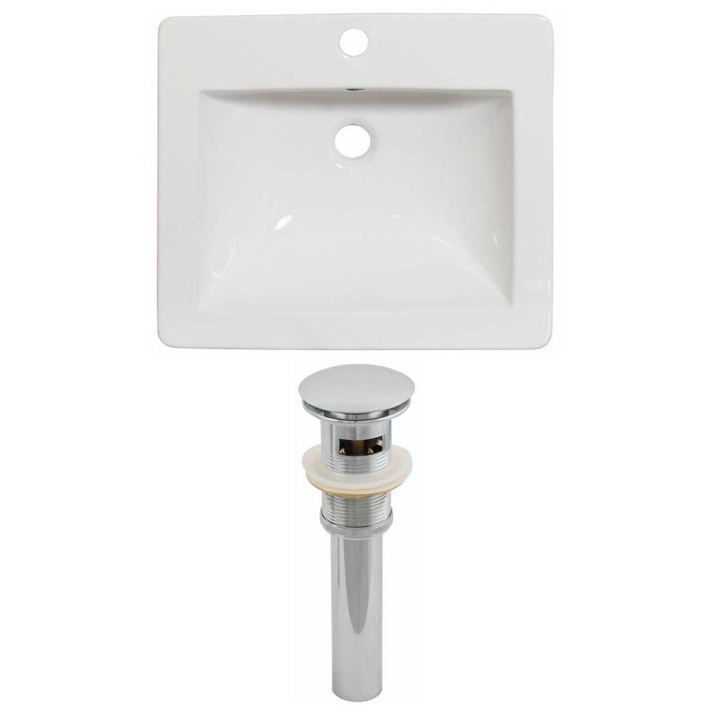 21-in. W x 18 po. D Céramique Top Set de couleur blanche et le drain