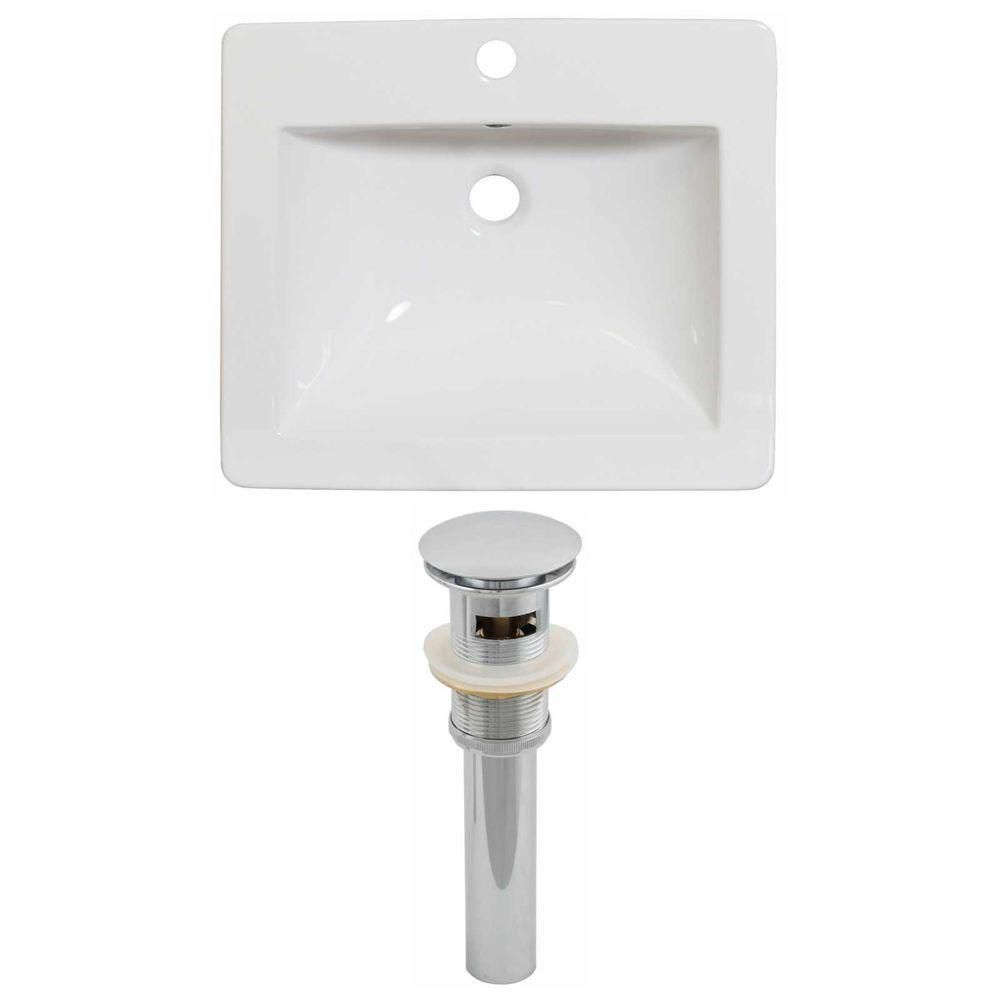 American Imaginations 21-inch W x 18-inch D Ceramic Top Set with Drain in White